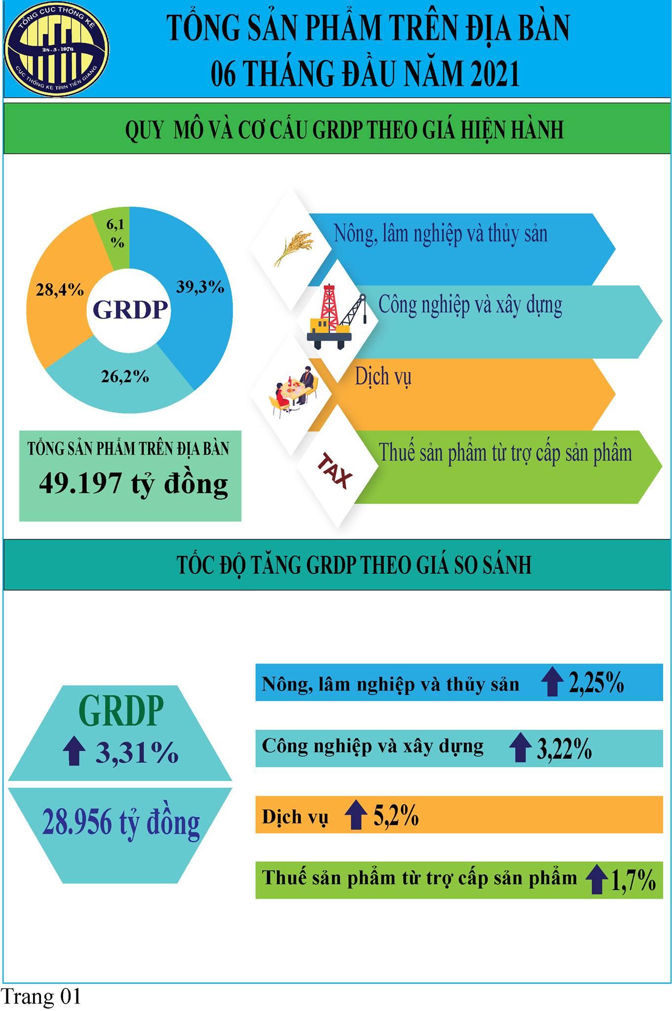 Infographic Tóm tắt tình hình kinh tế - xã hội tỉnh Tiền Giang 6 tháng đầu năm 2021