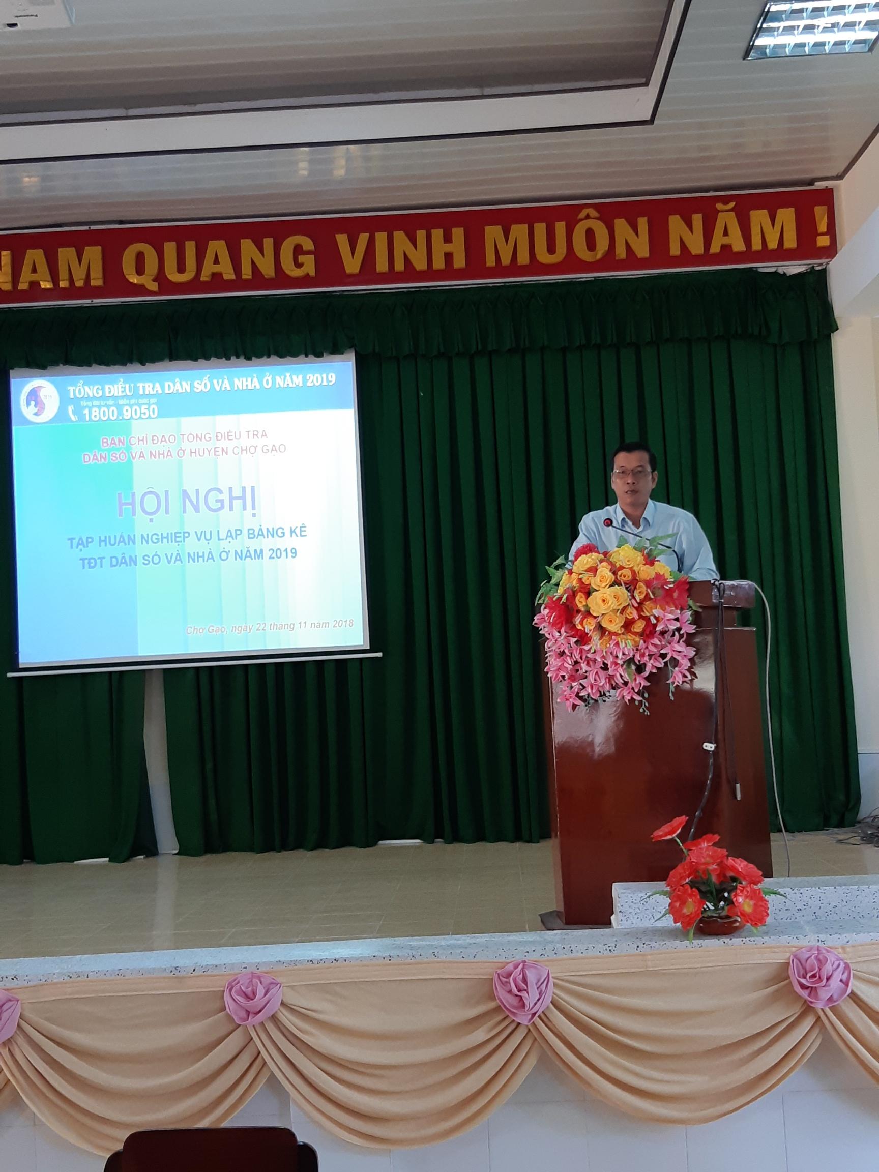 Huyện Chợ Gạo tập huấn công tác lập Bảng kê Tổng điều tra Dân số và nhà ở  năm 2019